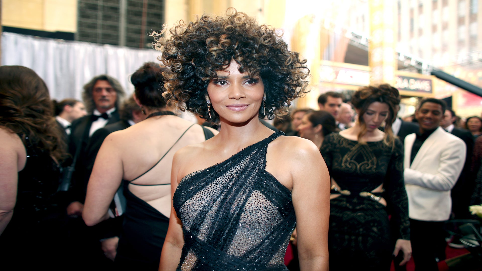 Halle Berry's Curly Afro Was Hard To Miss On The 2017 Oscars Red Carpet