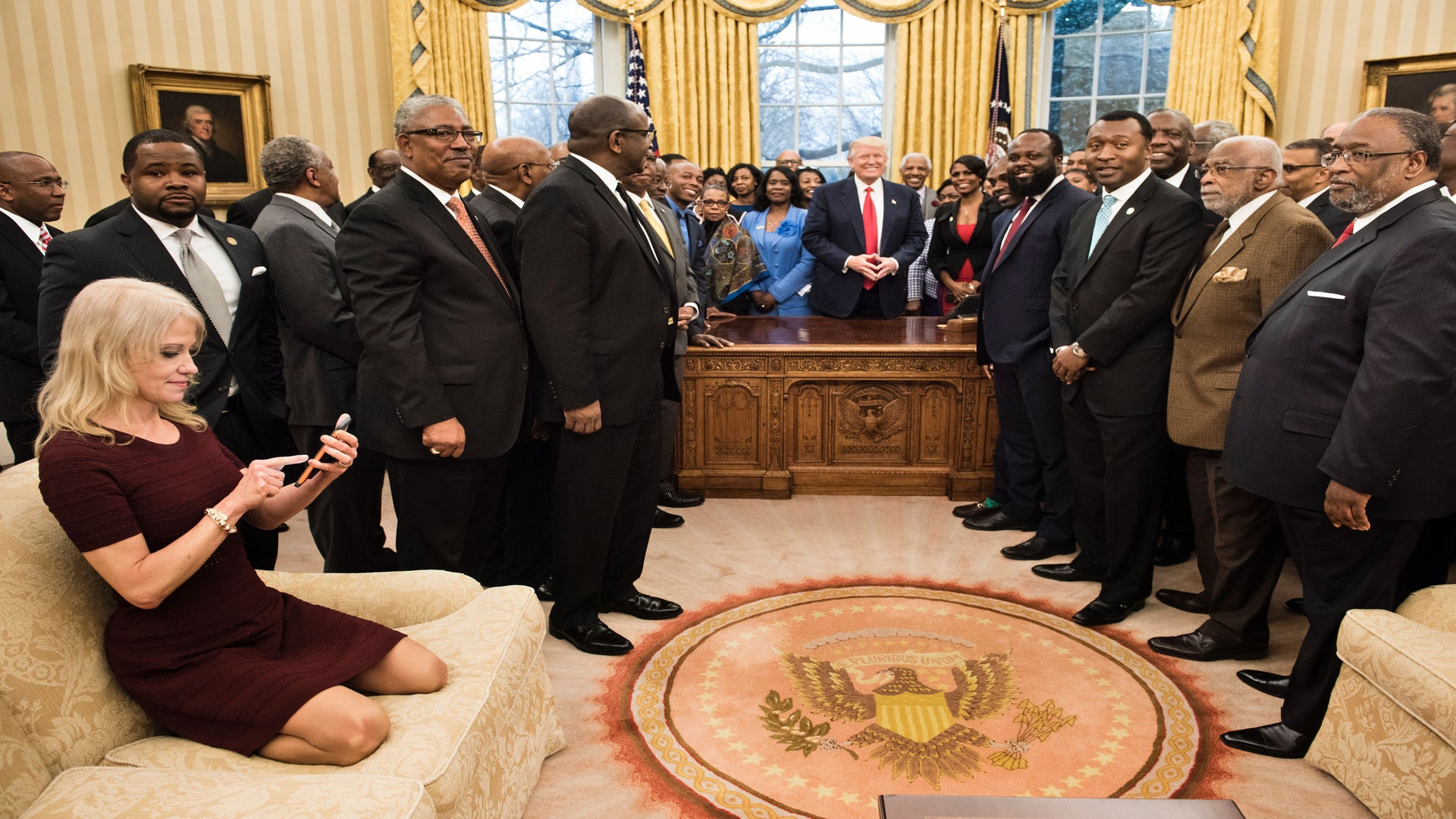 Kellyanne Conway Gets Dragged for Sitting On Oval Office Couch Like a Child