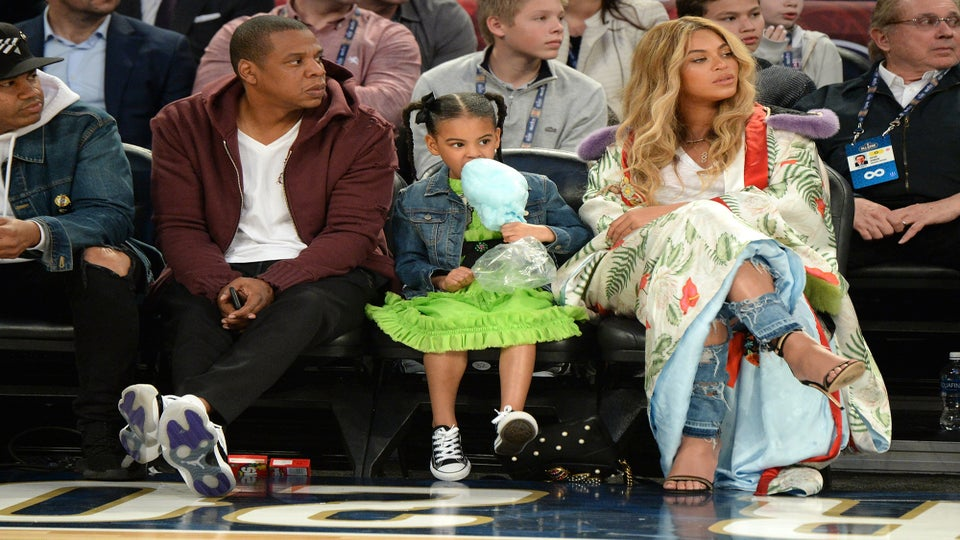 Blue Ivy Can't Get Enough Cotton Candy at the NBA All-Star Game with Jay Z and Beyoncé