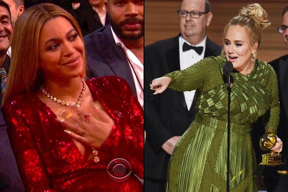 Adele dedicates Album of the Year win to Beyoncé at Grammys