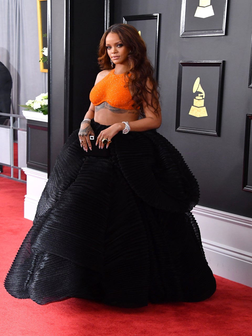 Rihanna Rocks Sparkly Orange Crop Top On Grammy Awards Red Carpet