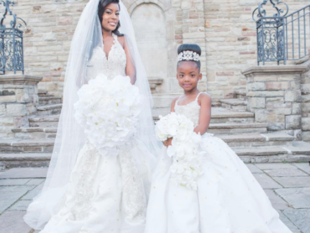 Black Wedding Moment Of The Day: Bride And Her Daughter In Matching Gowns Is The Sweetest