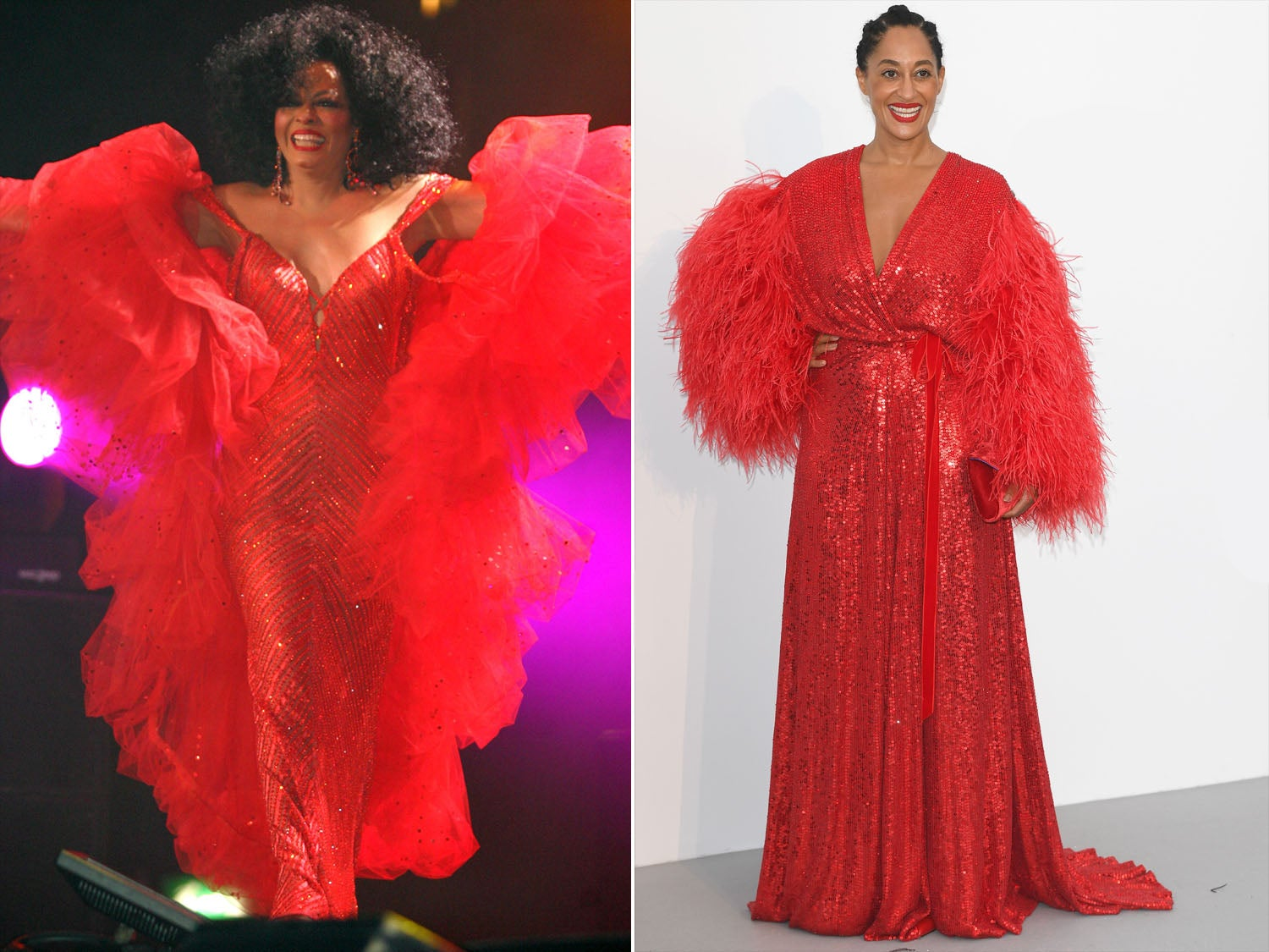 Tracee Ellis Ross Channels Her Mom Diana Ross in Red Sequin Gown at the 2017 amfAR Gala