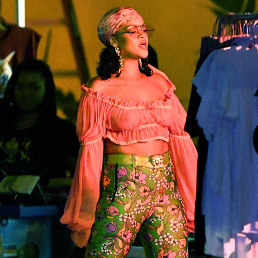 Rihanna Continues to Troll the Haters in a Sheer Crop Top and Skintight Pant-Boots