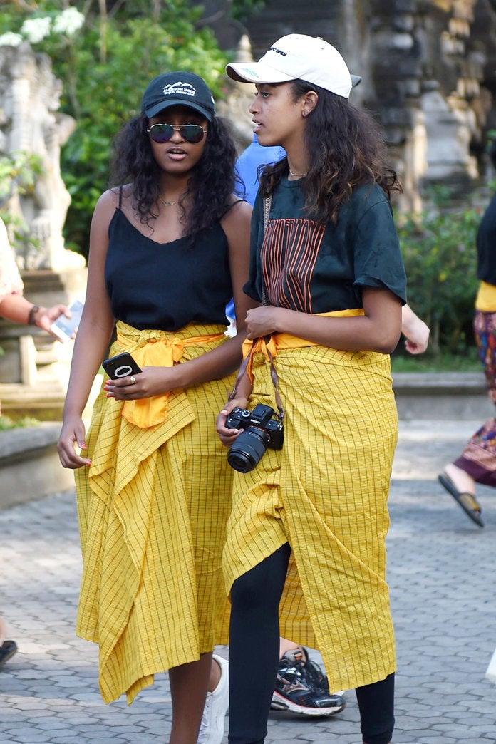 Malia and Sasha Obama Wear Bright Sarongs While Visiting a Temple in Bali