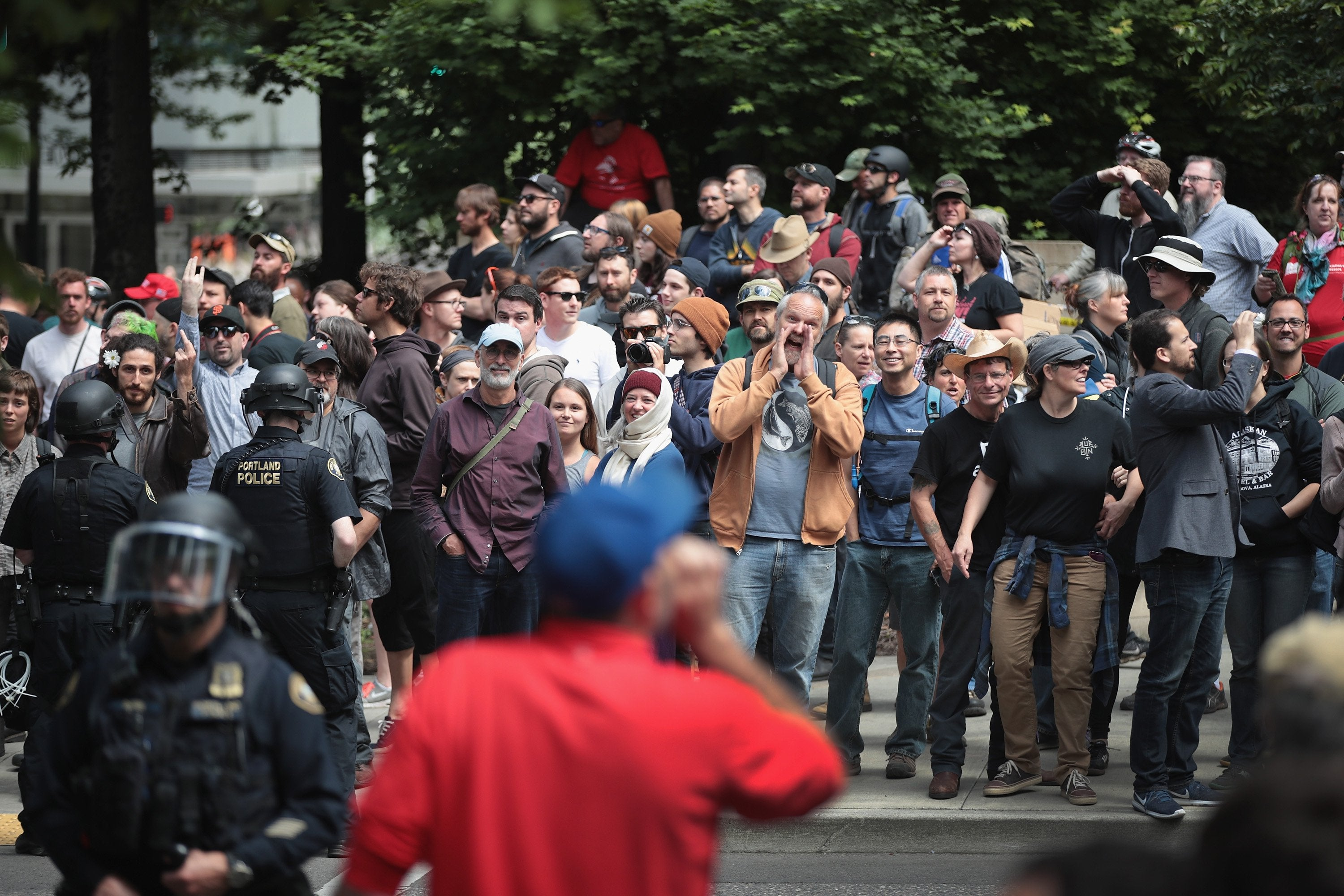 14 Arrested As Pro And Anti-Trump Protestors Clash With Police In Portland