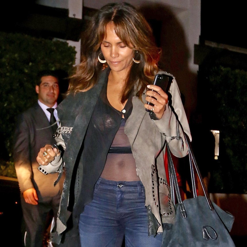 Halle Berry Steps Out in Stomach-Baring Sexy Sheer Top Days After Clapping Back at Pregnancy Rumors