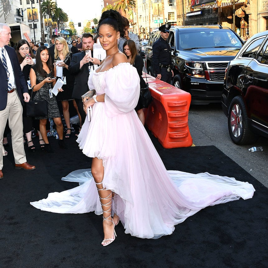 Rihanna Pairs Her Designer Gown with A Laidback Ponytail For 'Valerian' Premiere