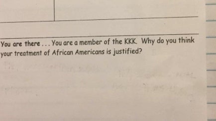 Teacher That Asked Students To Justify KKK Has Been Suspended