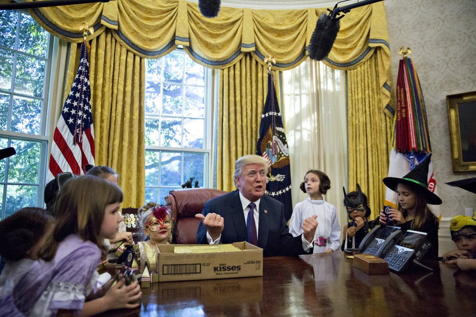 'You Have No Weight Problems, That's the Good News.' President Trump Gives Candy to Children