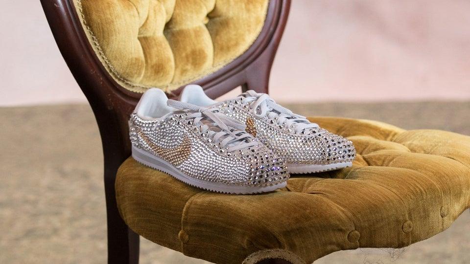 See Serena Williams' Custom Wedding Nike Sneakers Get Painstakingly Bedazzled