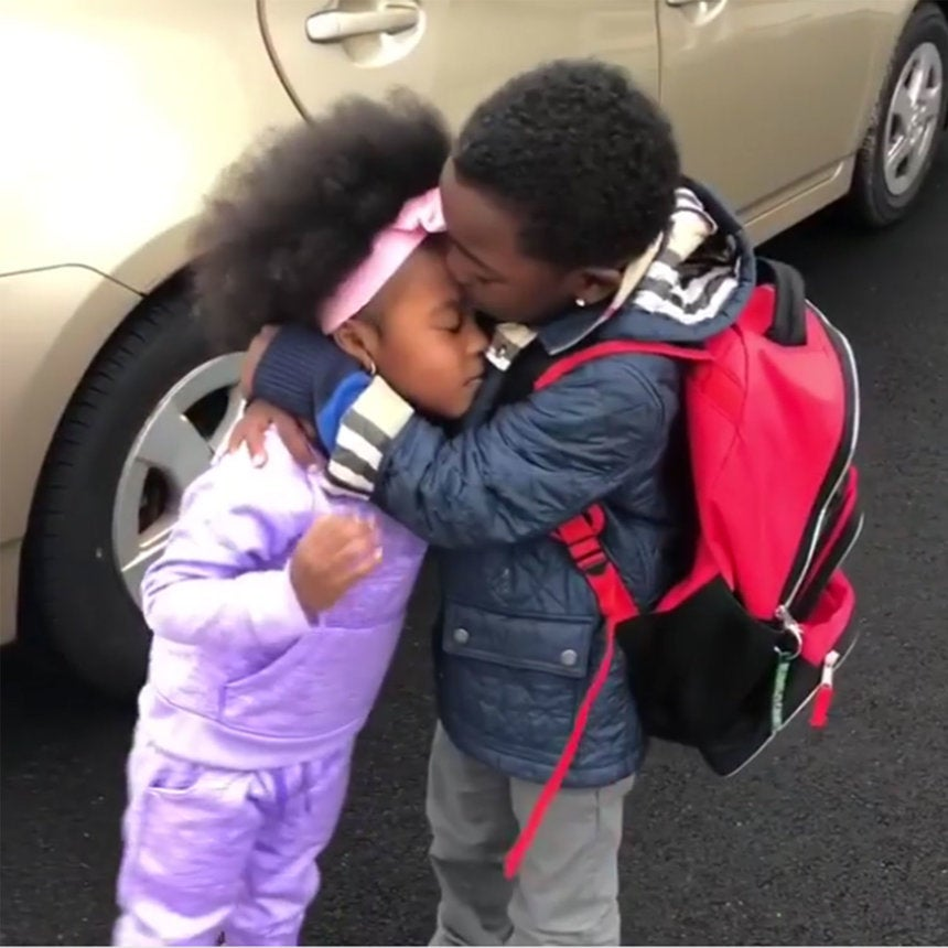 Brother And Sister's Sweet Reunion After ALong Day OfKindergarten Will Make Your Week