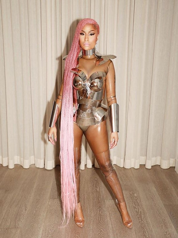 Nicki Minaj Has Transformed into a Real Life Barbie With Floor Length Pink Braids