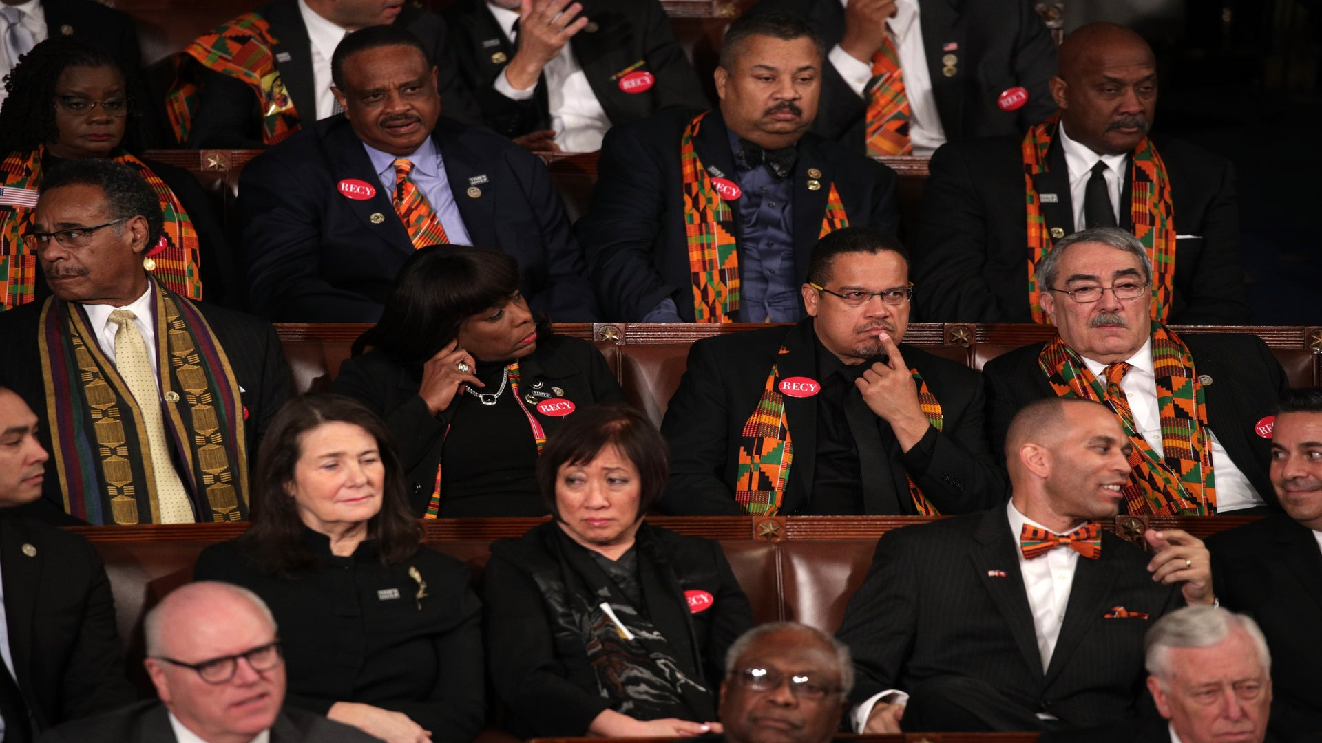 CBC Members Wore Kente Cloth, Recy Taylor Pins To Trump's State Of The Union Address