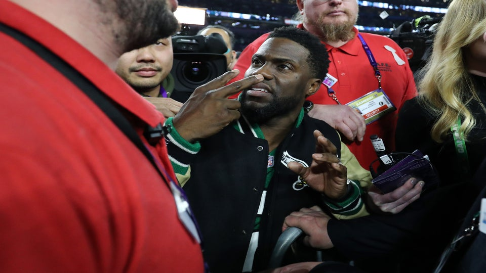 Kevin Hart Tried To Get On Stage After The Eagles' Super Bowl Win. It Didn't Go Well