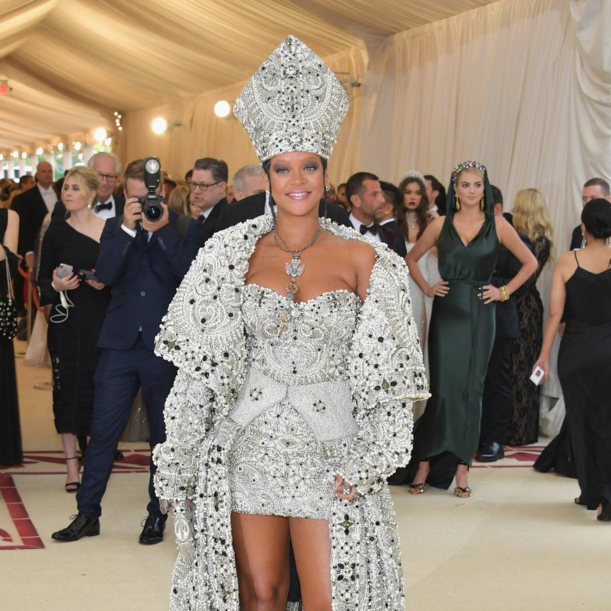 Rihanna Wows On The Met Gala Red Carpet As A Blinged Out Pope