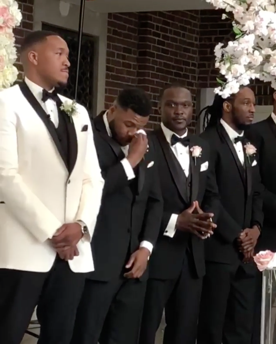 Black Wedding Moment Of The Day: Best Man Sheds Happy Tears At The Altar As His Brother Gets Married