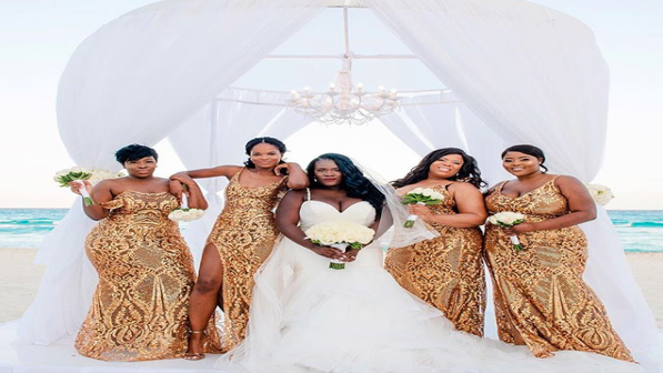 Black Wedding Moment Of The Day: These Bridesmaids Are Gold Goddesses In These Gorgeous Gowns