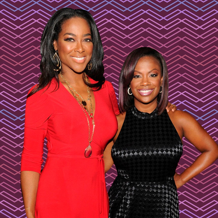 Aww! Kandi Burruss and Pregnant Kenya Moore Bumped Into Each Other At The Airport and Had A Moment