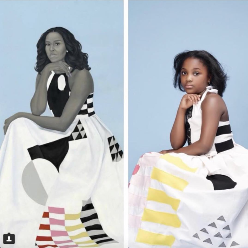 So Sweet! Young Black Girl Flawlessly Recreates Michelle Obama's Official Portrait