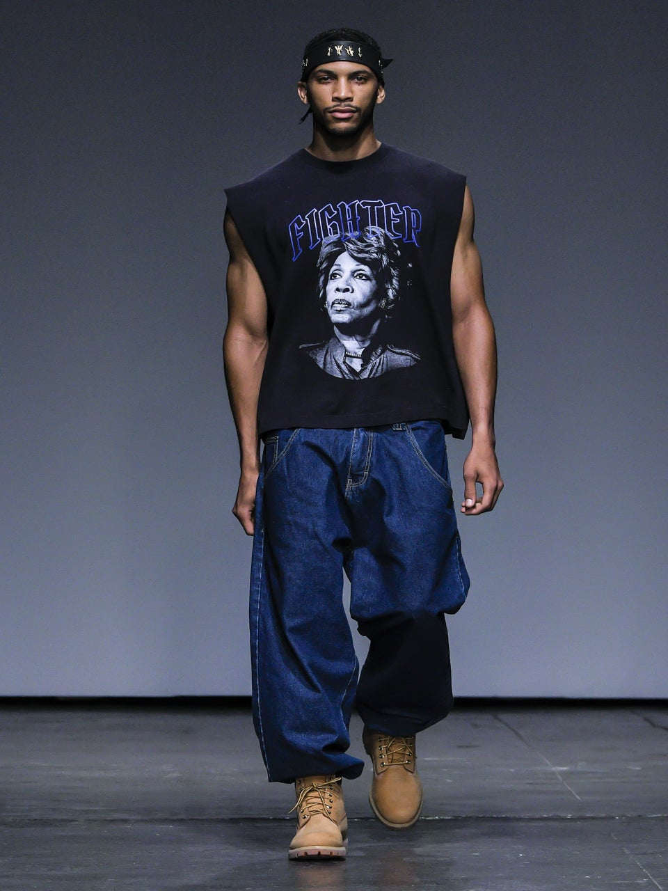 Maxine Waters Inspires Designer's Men's Fashion Week Piece