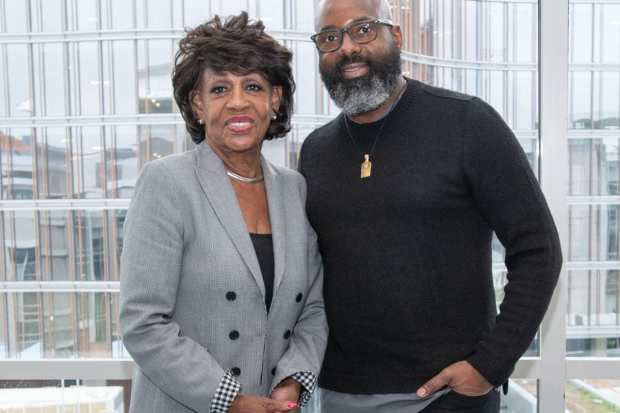Maxine Waters and CEO of Essence Ventures Richelieu Dennis ...