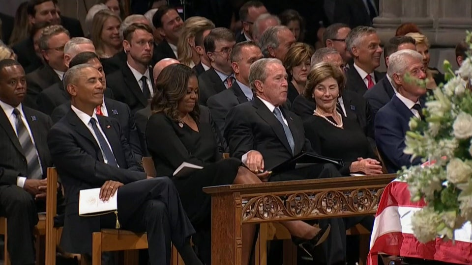 Michelle Obama Explains That Viral Moment With President Bush At McCain Funeral