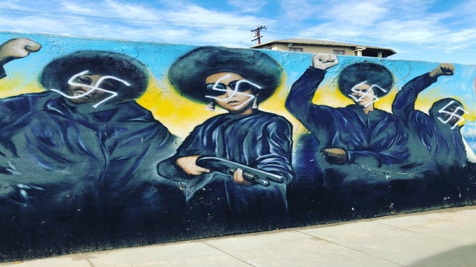 Renowned Black Panther Mural In Crenshaw Defaced With Swastikas