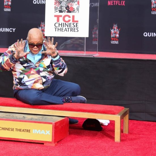 Quincy Jones Leaves His Mark At Famed TCL Chinese Theatre In Hollywood