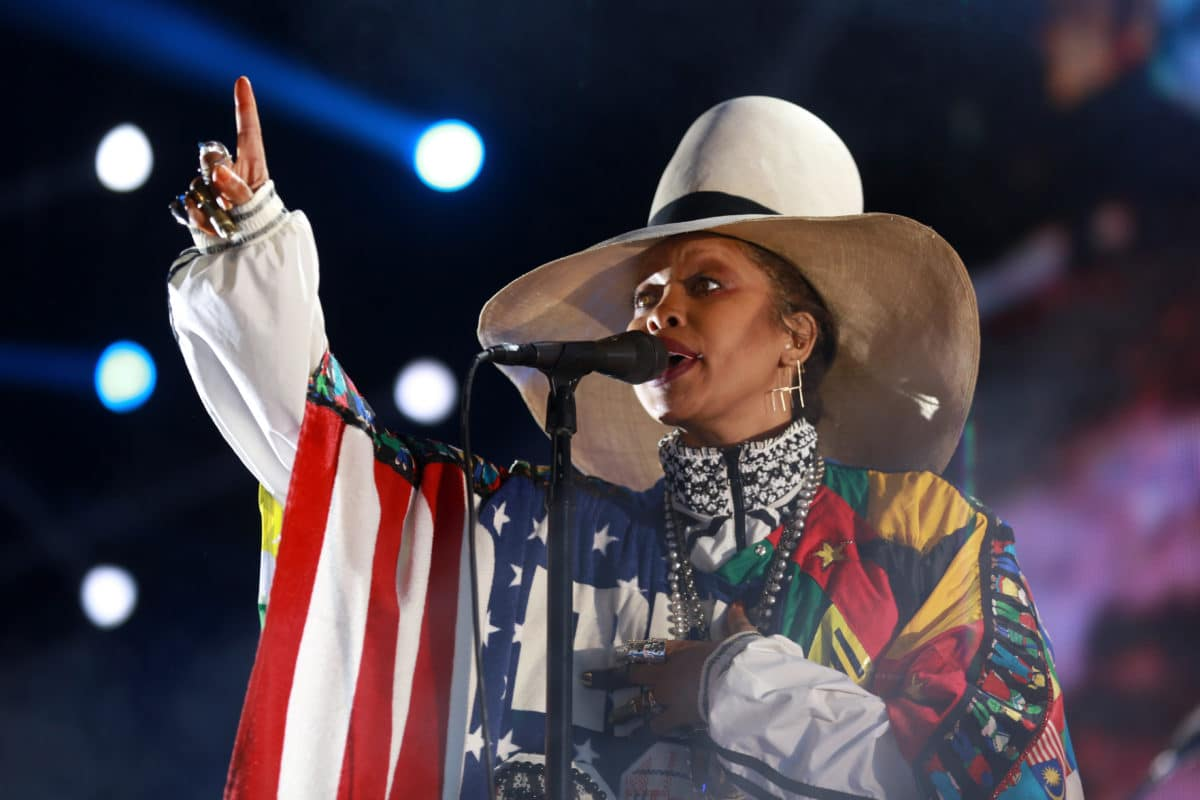 Erykah Badu performs at a concert. She was among the Black women who gave money to address the backlog of rape kits in the city of Detroit.