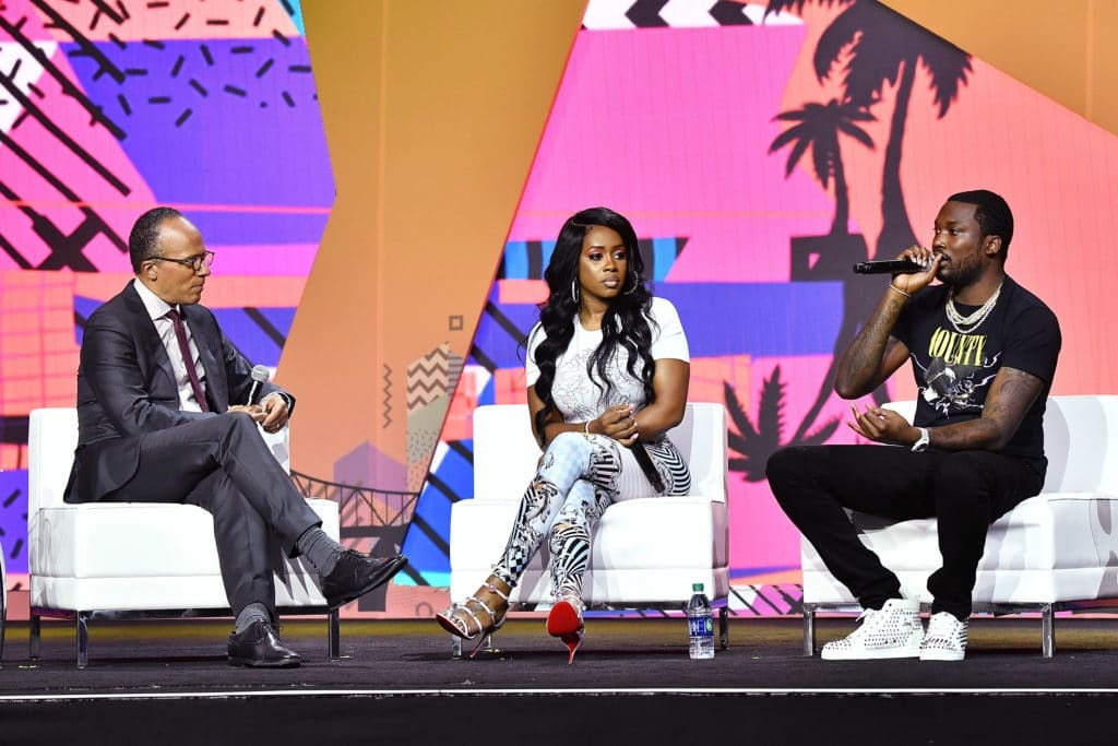 Lester Holt talks to Remy Ma and Meek Mills at Essence Fest 2018