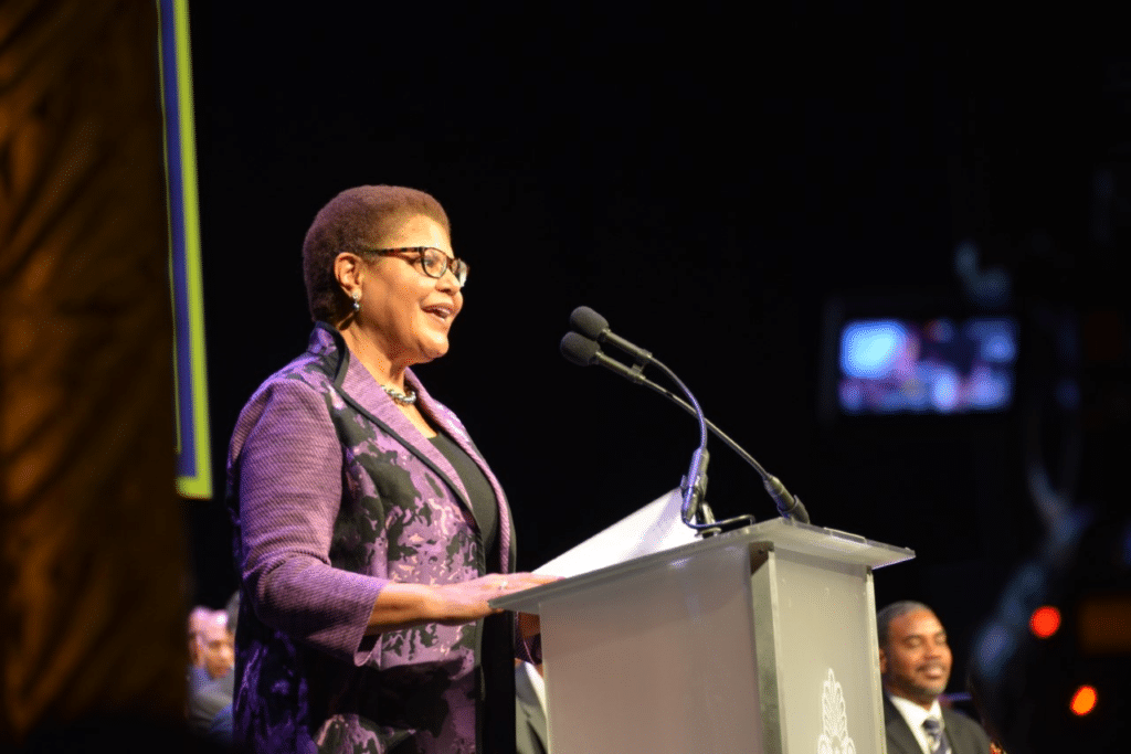 Karen Bass, who spoke at a BWR x Essence event on Wednesday, takes the podium.