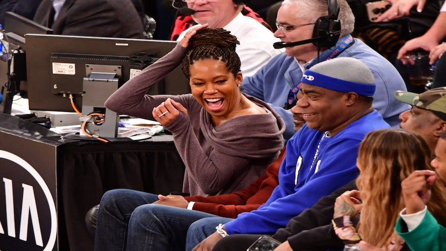 Regina King Narrowly Avoided Being Kicked In The Head At Knicks Game