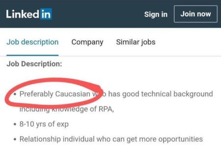 IT Company Posts Job Listing On LinkedIn Seeking 'Preferably Caucasian' Applicant