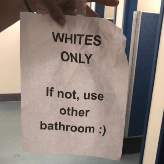 "'Whites Only"" Note Found In Georgia High School Bathroom"