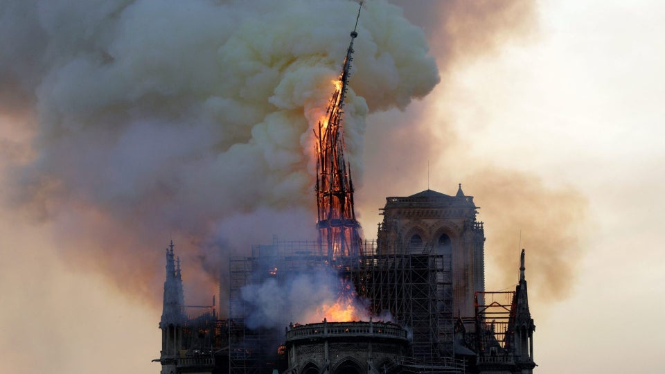Notre Dame Cathedral In Paris Is On Fire, Spire Collapses