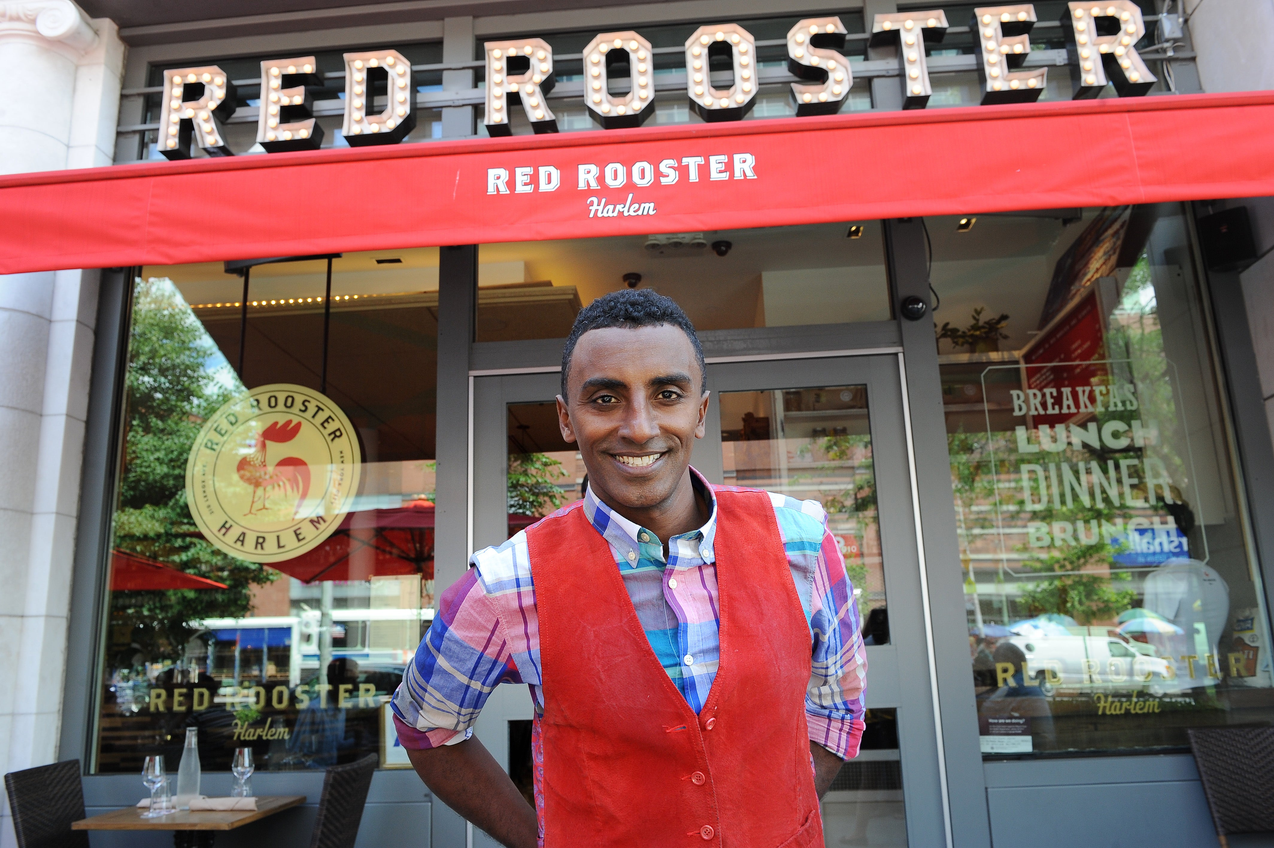 Celebrity chef Marcus Samuelsson at his Harlem restaurant Red Rooster. Last week the restauranteur opened two of his restaurants to serve as food assistance sites during the pandemic.