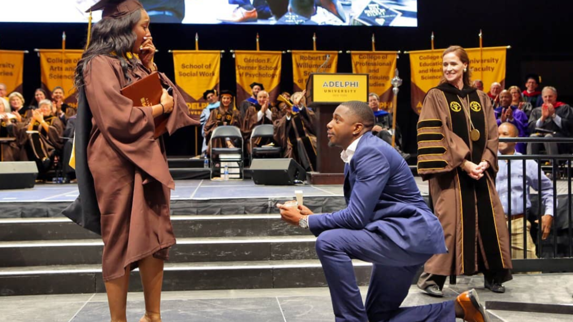 This Man's Graduation Proposal Got A Standing Ovation