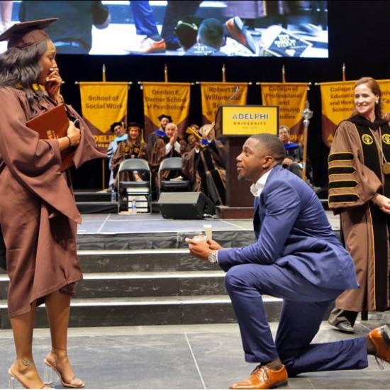 This Man's Graduation Proposal Got A Standing Ovation
