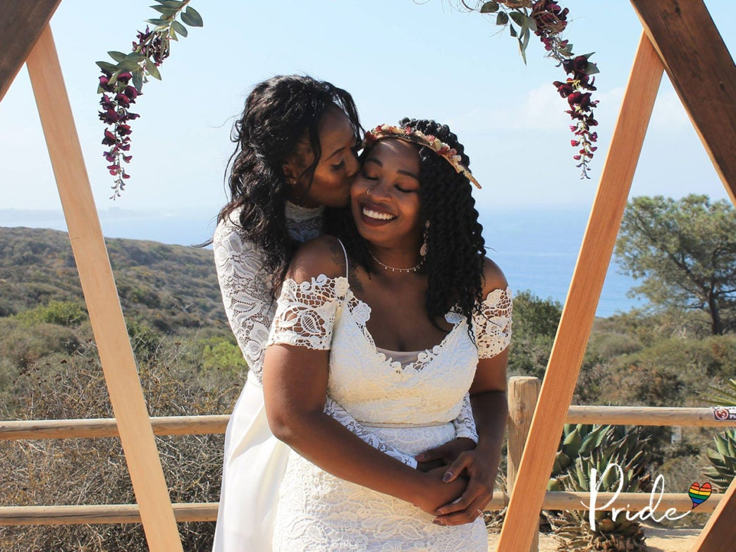 80865f16166e Bridal Bliss: Camille and Kristen's Cliffside Wedding Took Us To New Heights