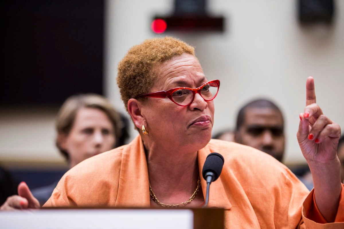 Julianne Malveaux testifies during a hearing on slavery reparations.