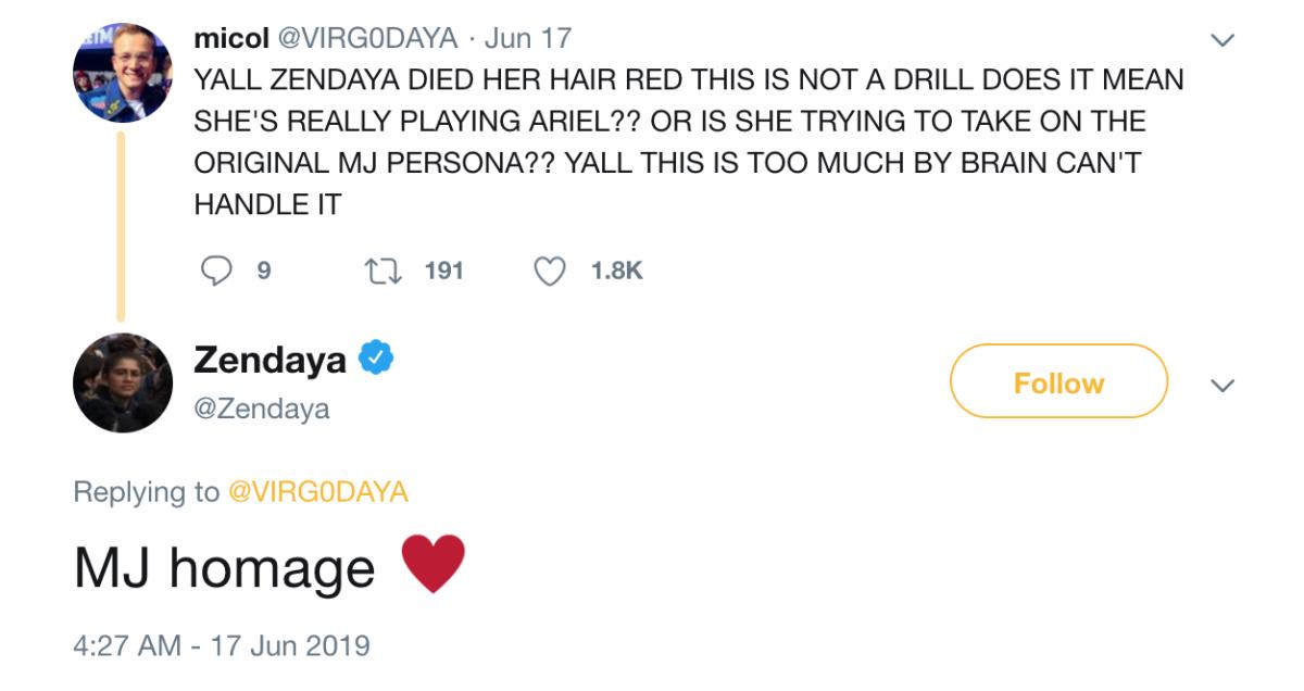 Zendaya's new red hair pays homage to 'Spider-Man'