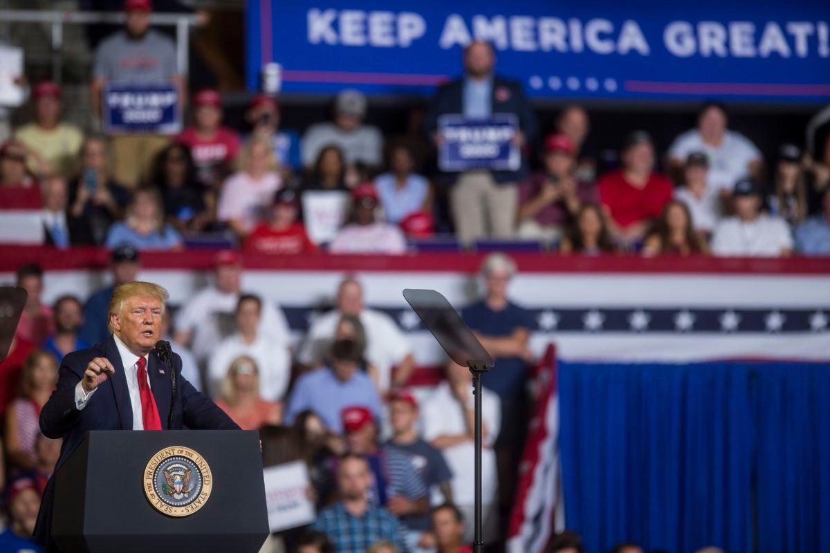 Donald Trump speaks at pro-Trump rally