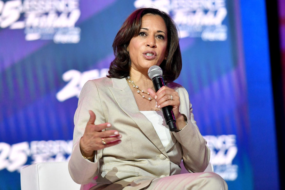 Kamala Harris speaking at Essence Fest. Children are now a focus of her campaign.