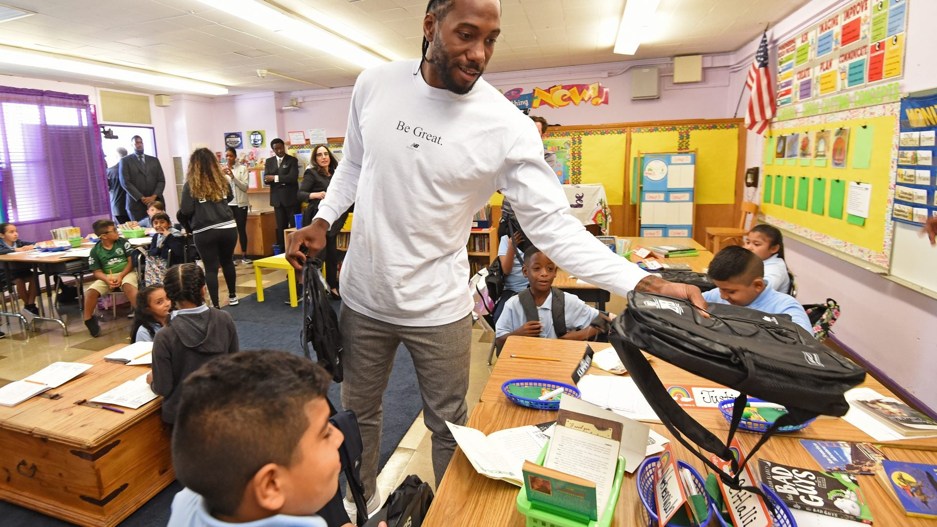 NBA Star Kahwi Leonard Donates 1 Million Backpacks To Los Angeles Students