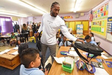 NBA Star Kahwi Leonard Donates 1 Million Backpacks To Los Angeles Students