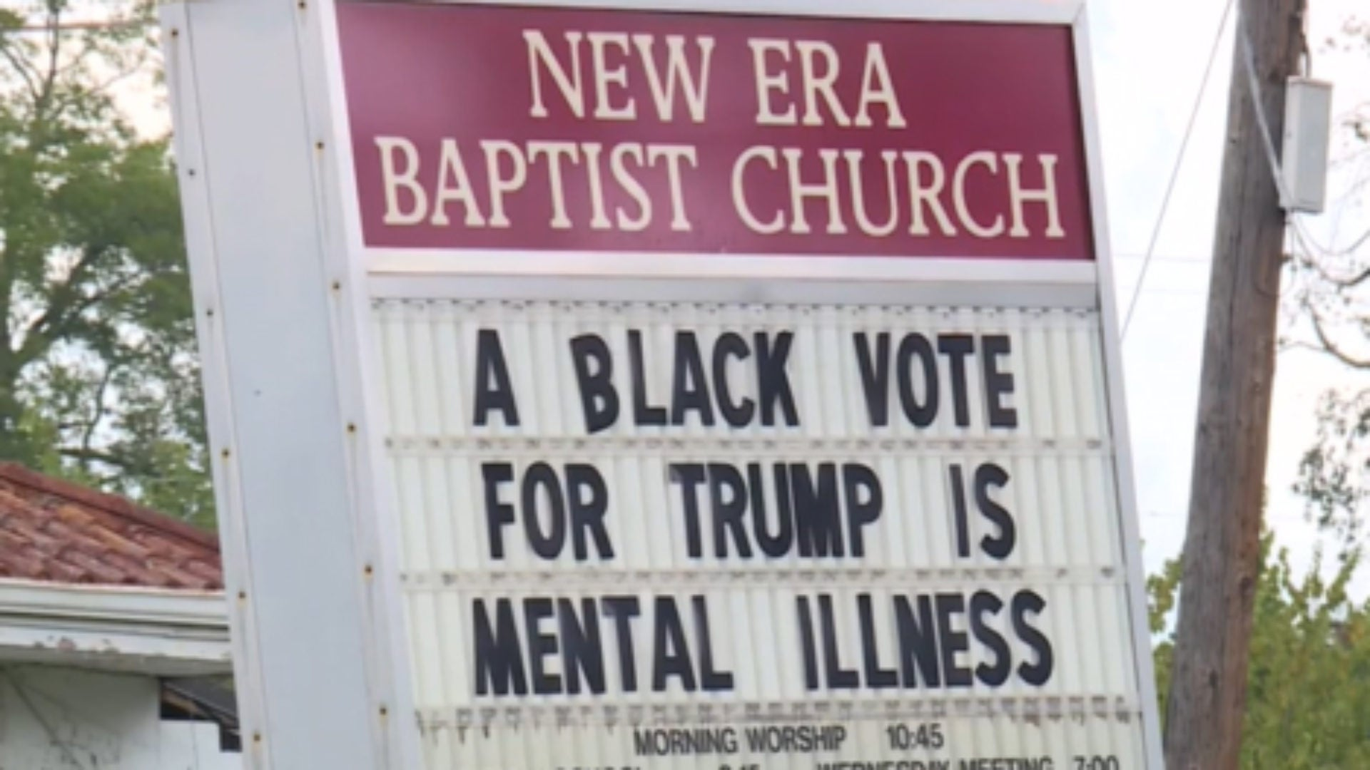 Church's Controversial Signs Says, 'A Black Vote For Trump Is Mental Illness'
