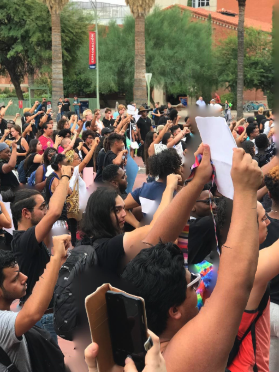 Students at University of Arizona gather to protest on campus.