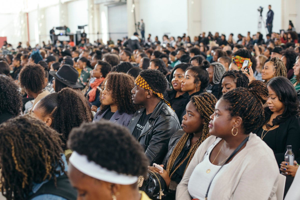 a room full of Black creatives at Duggal Greenhouse in Brooklyn