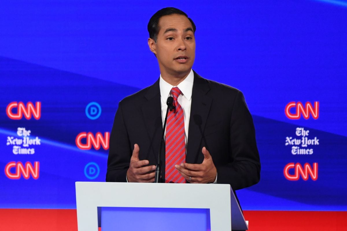 Julian Castro during a democratic primary debate. The former mayor is taking on hunger in his newest plan.